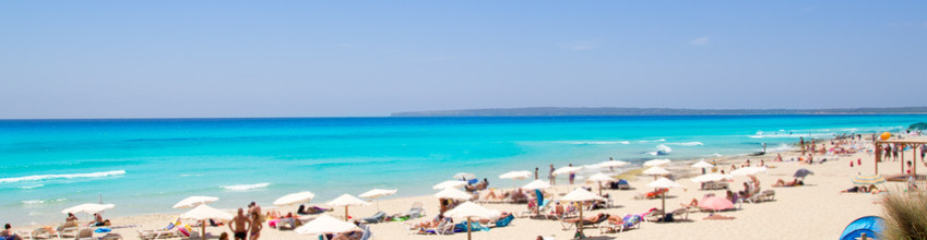 Formentera migjorn Els Arenals beach in summer vacation at Spain